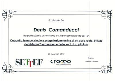 Certificato Comanducci Denis cappotto termico studio e progettazione online di un caso reale. Utilizzo del sistema Thermophon e delle voci di capitolato