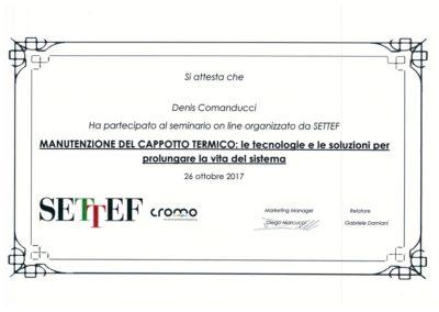 Certificato Comanducci Denis manutenzione del cappotto termico le tecnologie e le soluzioni per prolungare la vita del sistema