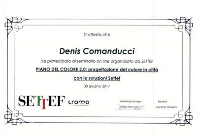 Attestato Comanducci Denis piano del colore progettazione del colore in città con le soluzioni settef