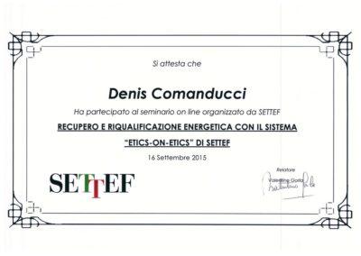 certificato Comanducci Denis recupero e riqualificazione energetica con il sistema etics on etics