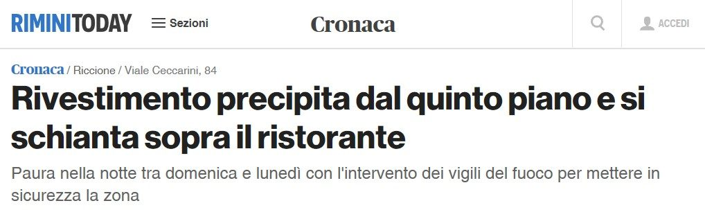 La Decorazione Morcianese interviene per la messa in sicurezza e per preservare l'incolumità dei cittadini e dei turisti a Riccione.